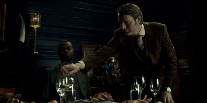 "Hannibal (Mads Mikkelsen) and Tobias (Demore Barnes) in Hannibal, Season 1, Episode 8 ""Fromage"""