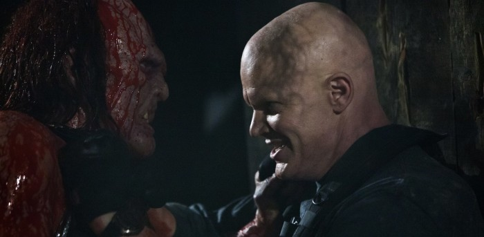 Kane Hodder and Derek Mears in Hatchet III (2013)