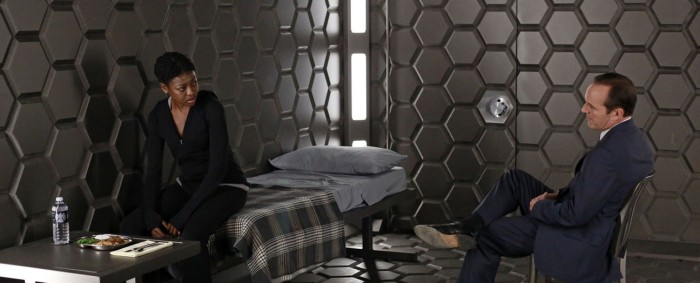 "Pascale Armand and Clark Gregg in Marvel's Agents of SHIELD Episode 4 - ""Eye Spy"""