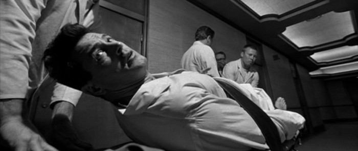Rock Hudson strapped to a hospital cart in Seconds (1966)