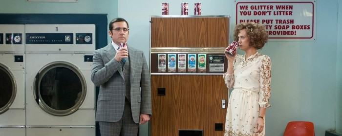 Steve Carell and Kristen Wiig in Anchorman 2: The Legend Continues