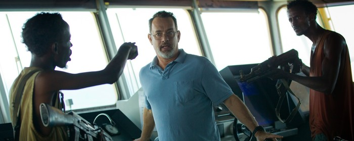 Barkhad Abdi, Tom Hanks and Faysal Ahmed in Captain Phillips (2013)