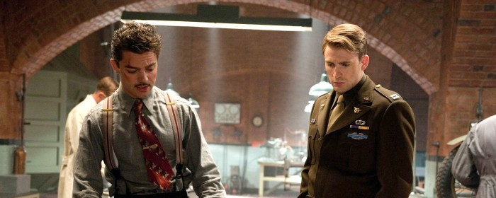 Dominic Cooper and Chris Evans inCaptain America: The First Avenger (2011)