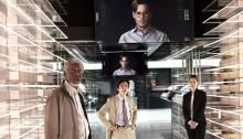 Morgan Freeman, Cillian Murphy, Johnny Depp and Rebecca Hall in TRANSCENDENCE (2014)