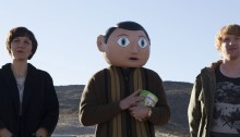 Maggie Gyllenhaal, Michael Fassbender and Domnhall Gleeson in Frank (2014)