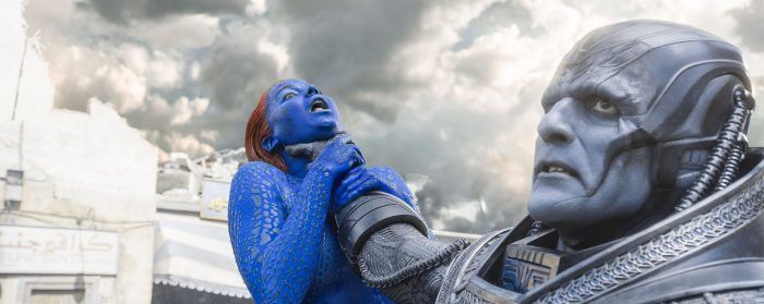 Jennifer Lawrence and Oscar Isaac in X-Men: Apocalypse (2016)
